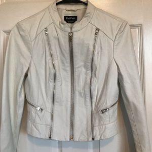 White 100% Leather Bebe Bomber Jacket